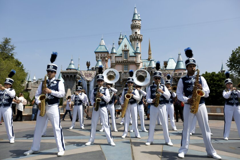 A band plays at Disneyland on June 30, 2017. The theme park won't host Grad Nite 2020 because it closed due to coronavirus concerns.