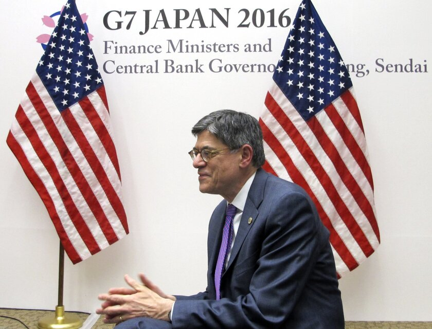 U.S. Treasury Secretary Jacob Lew talks to reporters during a press briefing in Sendai, northern Japan, Friday, May 20, 2016. Top finance officials of the Group of Seven industrialized economies kicked off their two-day meeting over discussions on revitalizing the global economy on Friday. (AP Photo/Elaine Kurtenbach)