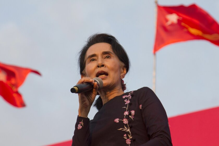 Myanmar opposition leader Aung San Suu Kyi speaks during an election campaign rally of her National League for Democracy party for upcoming general election Sunday, Nov 1, 2015, in Yangon, Myanmar. Myanmar's general elections are scheduled for Nov. 8, the first since a nominally civilian government