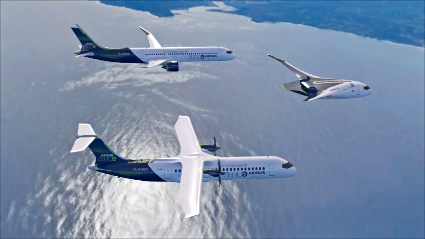 Rendering of Airbus' hydrogen-powered concept planes