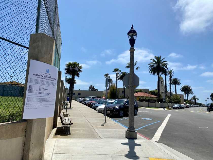 A larger-than-standard notice of application describes plans to vacate part of Cuvier Street near the La Jolla Rec Center.