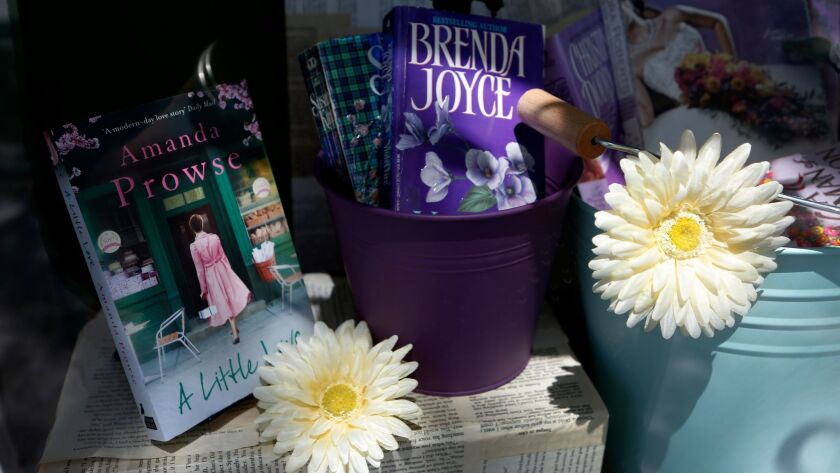 Part of the storefront display of the Ripped Bodice bookstore in Culver City.