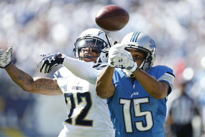 Detroit Lions wide receiver Golden Tate (15) and San Diego Chargers cornerback Jason Verrett (22) battle for a ball during the second half of an NFL football game, Sunday, Sept. 13, 2015, in San Diego. (AP Photo/Alex Gallardo)