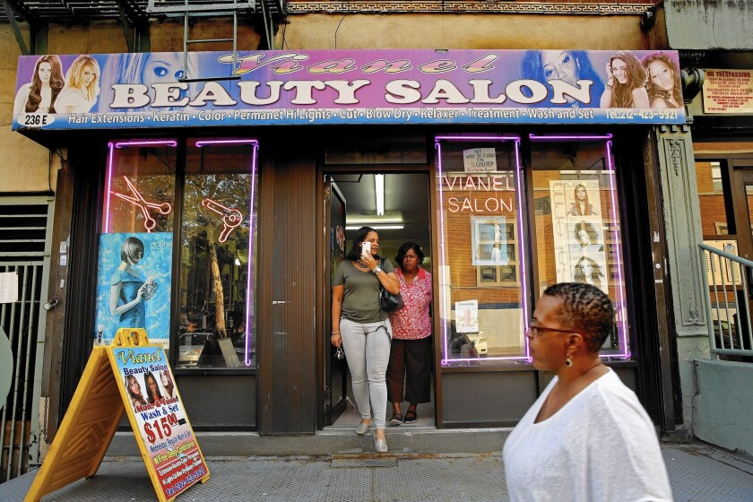 Vianel Beauty Salon in East Harlem sits across the street from Our Lady Queen of Angels School, where Pope Francis will meet with pupils, refugees and immigrants Sept. 25.