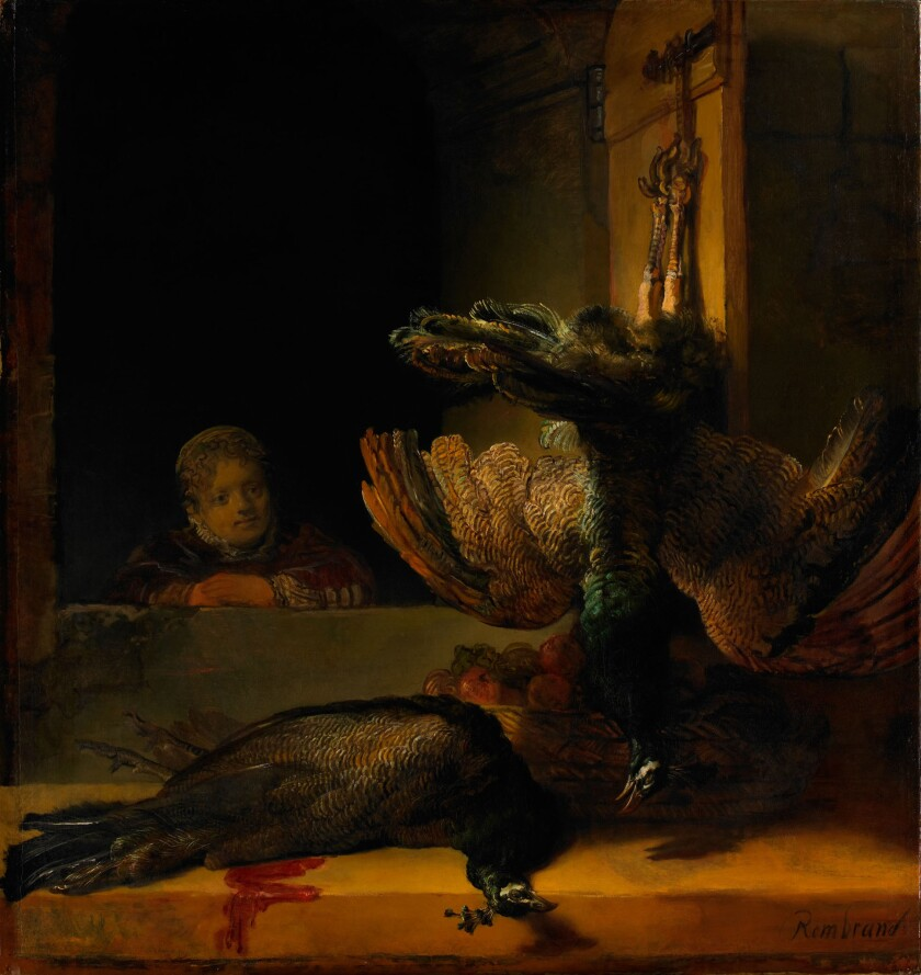 Still life with two Peacocks and a Girl, ca 1639, by Rembrandt.