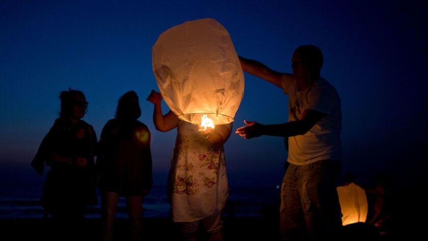 Activists release paper lanterns in solidarity with Palestinians from Gaza, at the Ashkelon beach, I