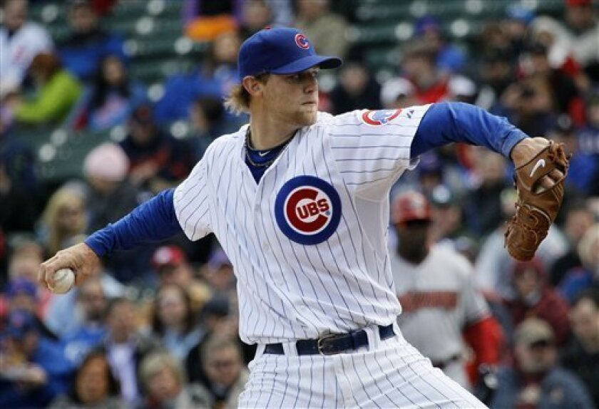 Chicago Cubs' Andrew Cashner delivers during the first inning of a baseball game against the Arizona Diamondbacks, Tuesday, April 5, 2011 in Chicago. (AP Photo/Charles Rex Arbogast)