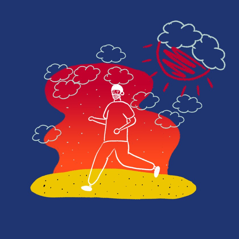 Runner on the beach during air quality crisis