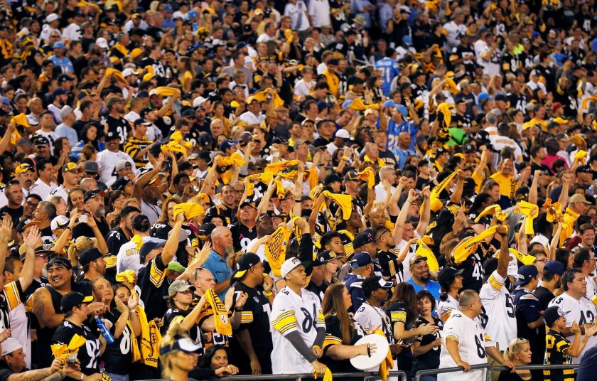 Thousands of Steelers fans cheered for Pittsburgh at Monday's game against the Chargers at Qualcomm Stadium.
