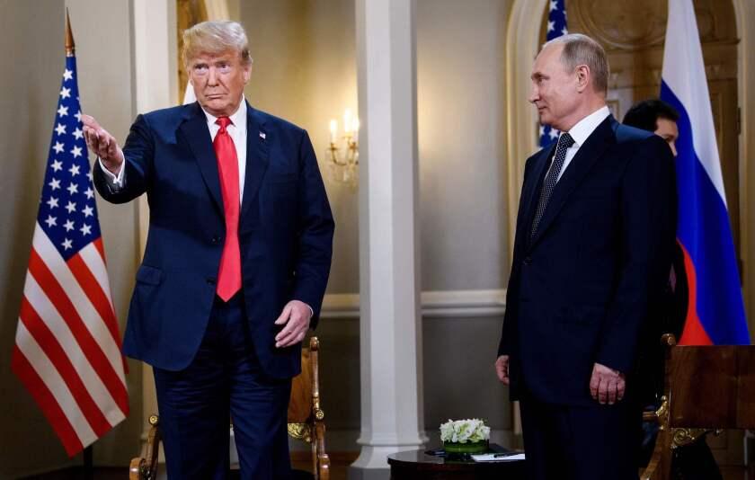 President Trump, left, and Russian President Vladimir Putin in Helsinki in 2018.