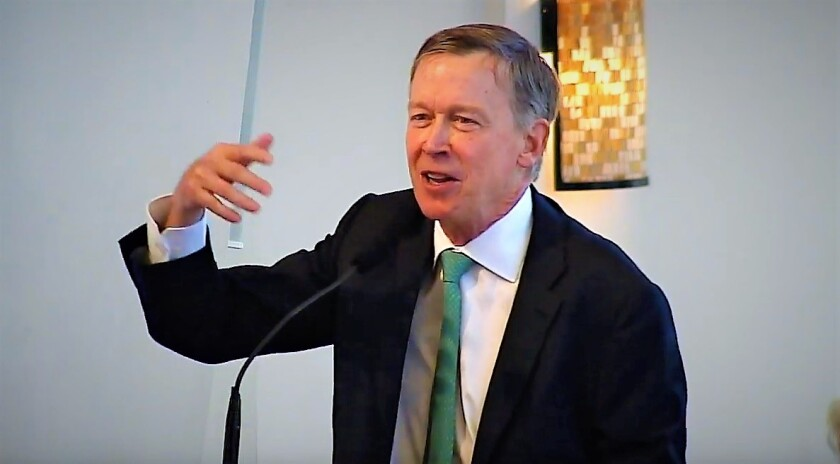 John Hickenlooper, the former governor of Colorado who is campaigning for U.S. Senate, recalls George Mitrovich offering him encouragement before Hickenlooper was elected as mayor of Denver almost two decades ago. He spoke Aug. 24 at a celebration of life for the late San Diegan.