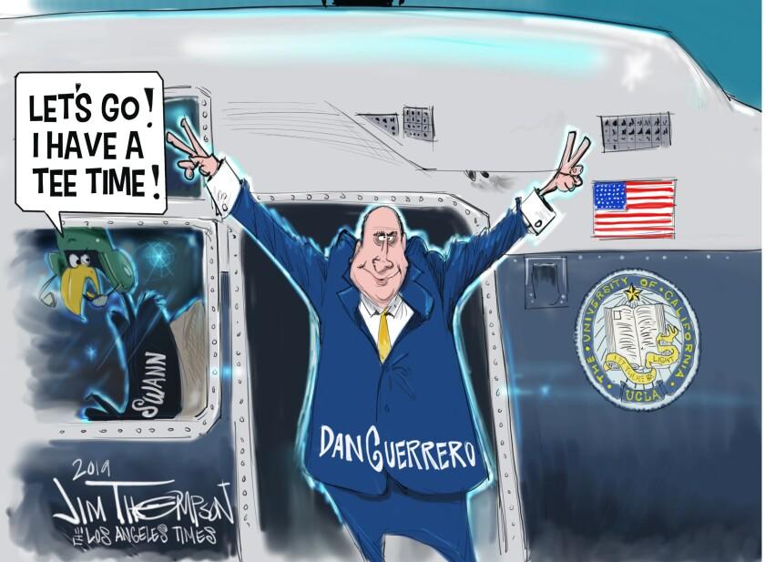 Cartoonist Jim Thompson on UCLA Athletic Director Dan Guerrero's recent announcement.