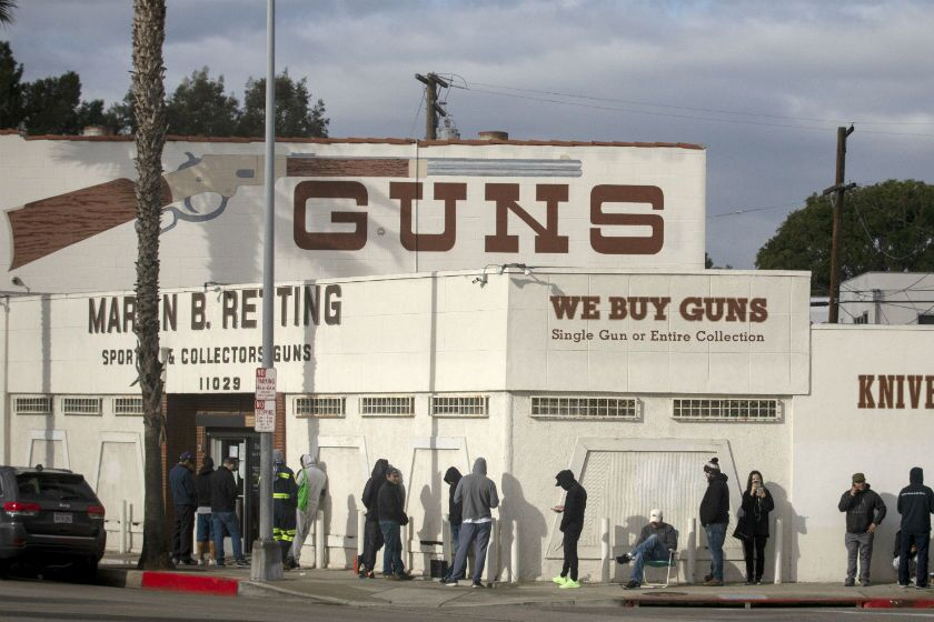 A line at the Martin B. Retting gun store in Culver City in March extends out the door and around the corner.