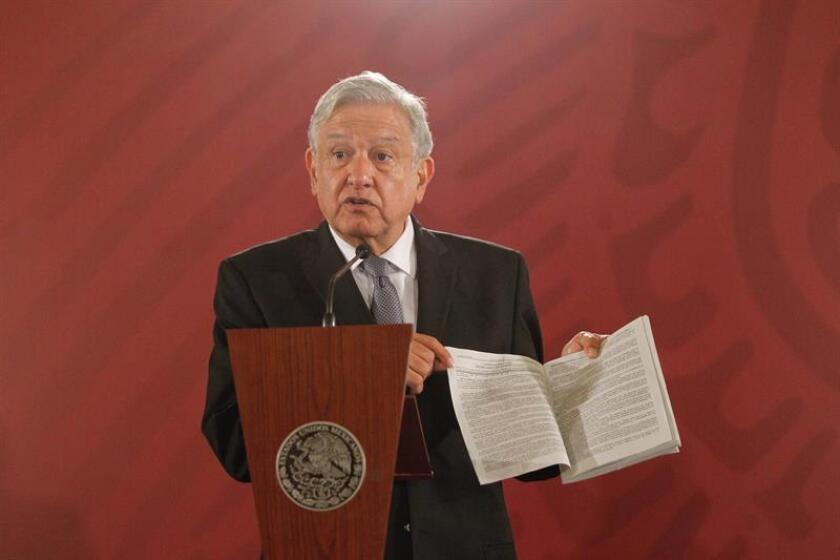 Mexican President, Andres Manuel Lopez Obrador offers a press conference at the Treasury Hall in the National Palace, in Mexico City, Mexico, 05 December 2018. EFE-EPA/Sashenka Gutierrez