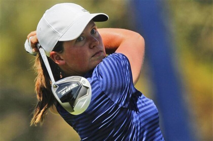 Karin Sjodin, of Sweden, watches her drive on the second hole during the third round of the LPGA Kraft Nabisco Championship golf tournament in Rancho Mirage, Calif., Saturday, March 31, 2012. (AP Photo/Chris Carlson)