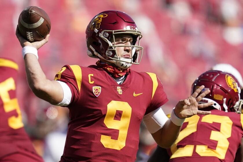 USC quarterback Kedon Slovis throws a pass during the second half against Arizona State.