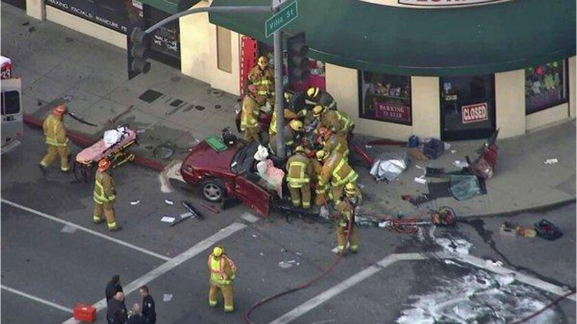 Two people were killed and three others were injured in a traffic collision Wednesday in Pasadena, fire officials said.