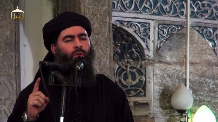 Islamic State leader Abu Bakr Baghdadi is shown in an image from a propaganda video released on July 5, 2014.