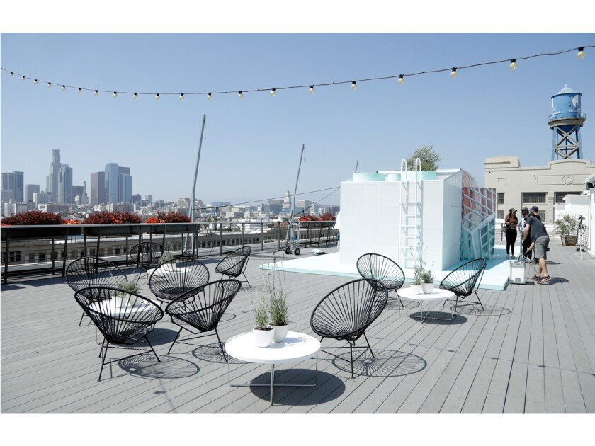 The Mini Urban Cabin, the third Tiny Home in a series, built under the supervision of MINI LIVING in collaboration with Los Angeles architecture firm FreelandBuck. It is installed on the roof of ROW DTLA as part of the Los Angeles Design Festival, a citywide showcase being held June 7-10, 2018.