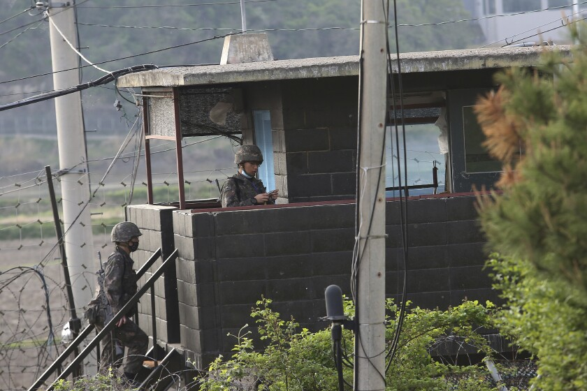 South Korean soldiers man a military post in Paju near the border with North Korea.