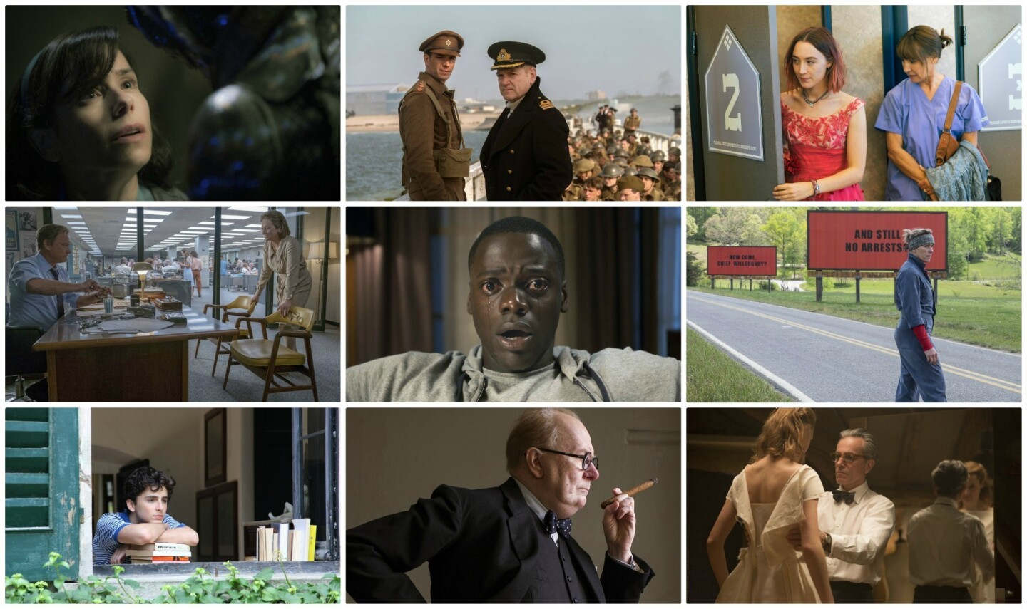 """A composite of the best motion picture nominees. from top left, """"The Shape of Water,"""" """"Dunkirk,"""" """"Lady Bird,"""" """"The Post,"""" """"Get Out,"""" """"Victoria & Abul,"""" """"Call Me by Your Name,"""" """"Darkest Hour"""" and """"Phantom Thread."""""""