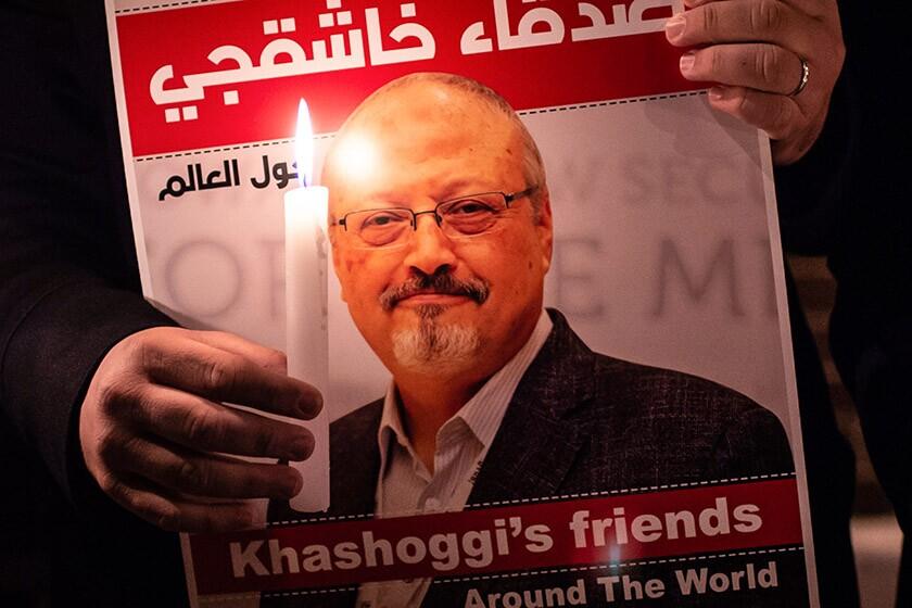 A poster featuring journalist Jamal Khashoggi