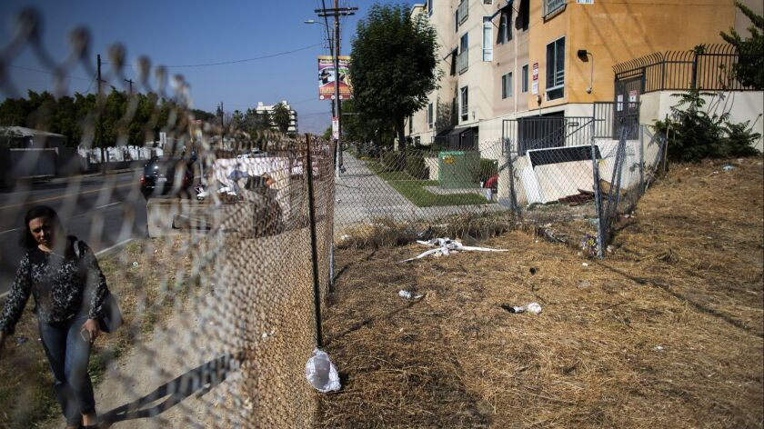 SUNLAND, CA - MAY 23, 2018: The empty lot, right, was proposed to be the site of a 26-unit housing