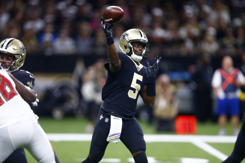 New Orleans Saints quarterback Teddy Bridgewater passes during the first half against the Tampa Bay Buccaneers on Sunday.