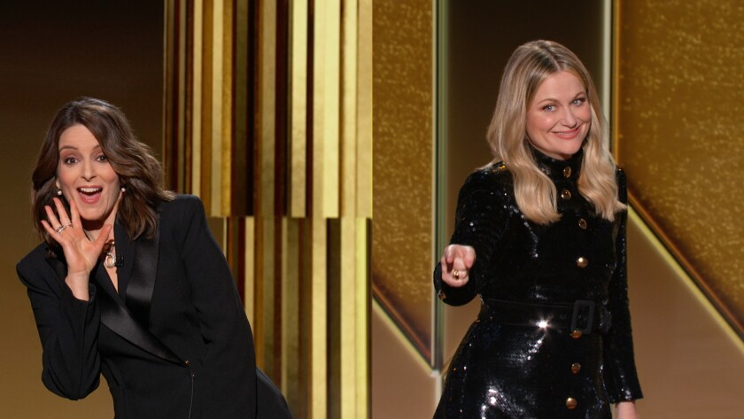 Hosts Tina Fey and Amy Poehler during the 78th Annual Golden Globe Awards.