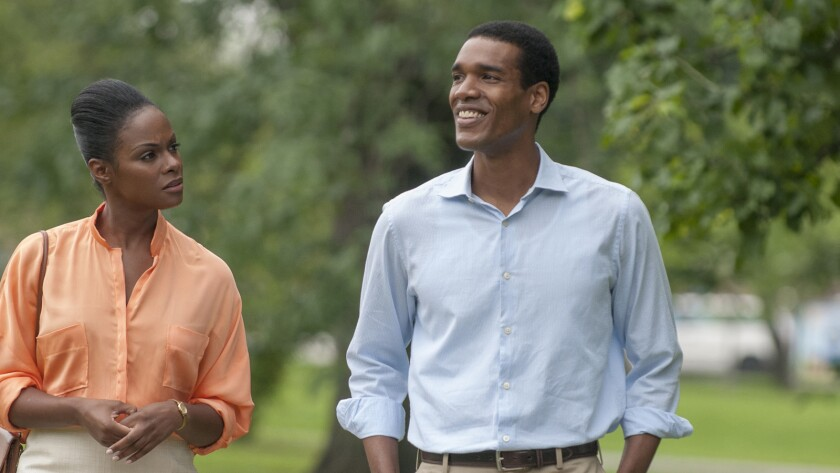 """Tika Sumpter as Michelle Robinson and Parker Sawyers as Barack Obama in """"Southside With You."""""""