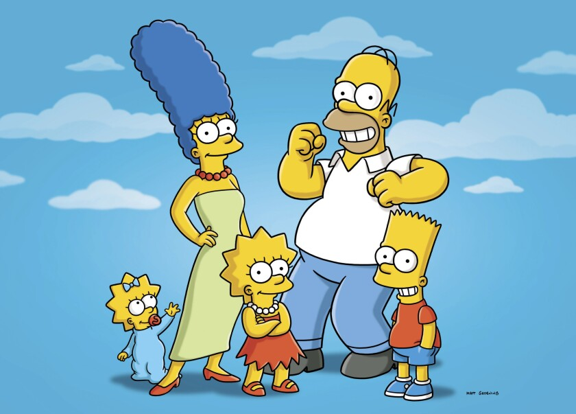 """Maggie, Marge, Lisa, Homer and Bart from """"The Simpsons."""""""