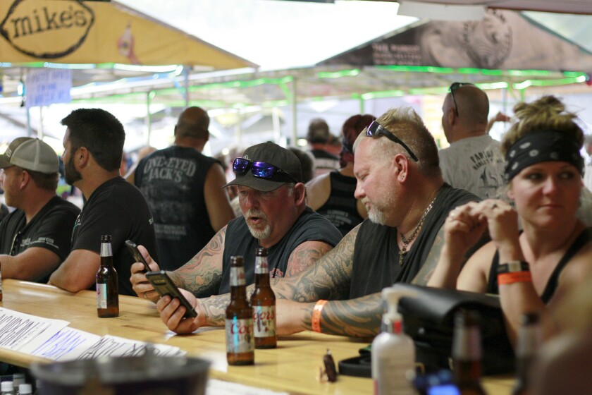 Bikers at a bar during the Sturgis Motorcycle Rally