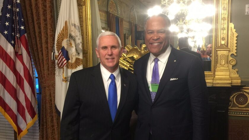 Vice President Mike Pence meets with Jessie Knight, former Sempra executive vice president and SDG&E
