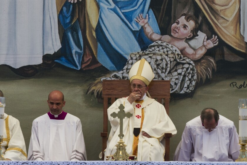 Pope Francis celebrates Mass in Manger Square next to the Church of the Nativity.