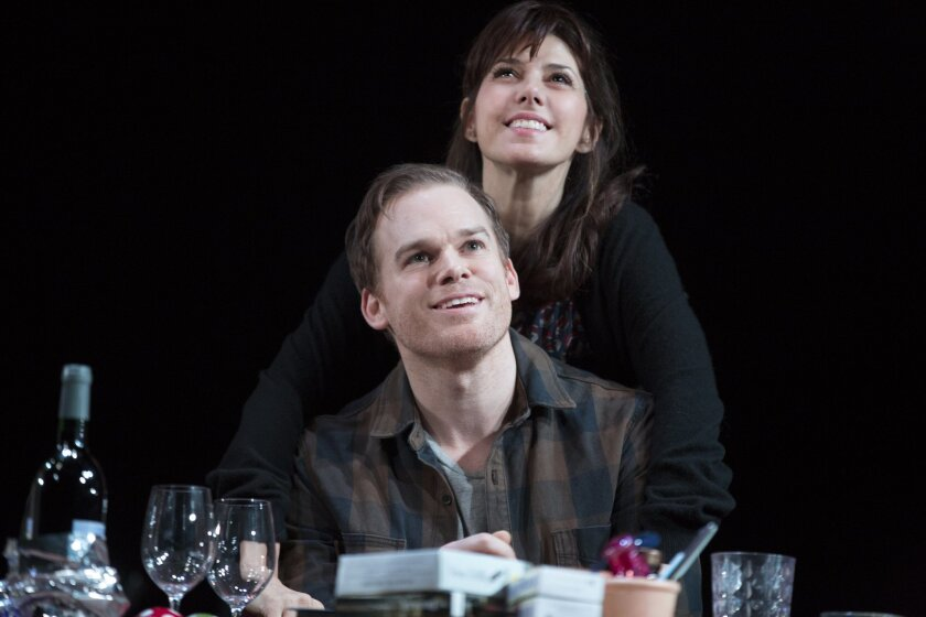 """This image released by Jeffrey Richards Associates shows Marisa Tomei and Michael C. Hall during a scene from """"The Realistic Joneses,"""" at the Lyceum Theatre in New York.  (AP Photo/Jeffrey Richards Associates, Joan Marcus)"""