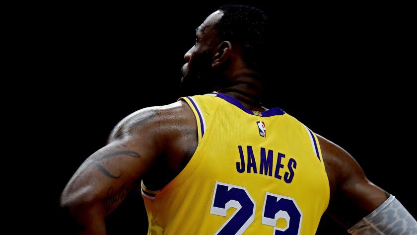 PORTLAND, ORE. . - OCT. 18, 2018. Forward LeBron James during a break in the action against the Trai