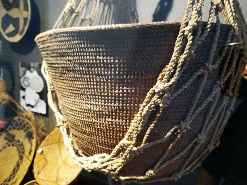 Kumeyaay basket on display at the Museum of Man.