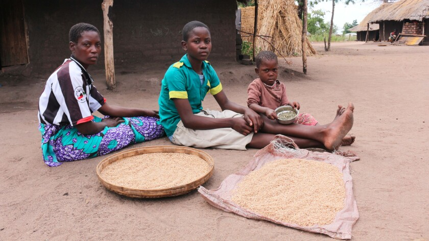 Lucia Thedzi sits with two of her children outside their home in Chikwawa in southern Malawi, a region hit hard by an El Niño-induced drought that has decimated harvests, leaving people with little or no food. The Thedzis are down to their last rations.