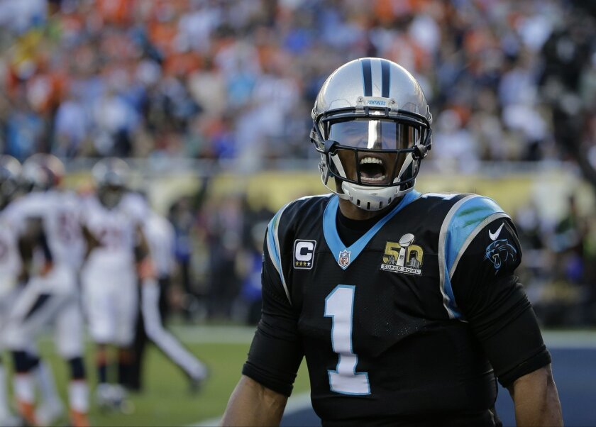 Carolina Panthers' Cam Newton (1) celebrates after a touchdown run by Jonathan Stewart during the first half of the NFL Super Bowl 50 football game against the Denver Broncos Sunday, Feb. 7, 2016, in Santa Clara, Calif. (AP Photo/David J. Phillip)