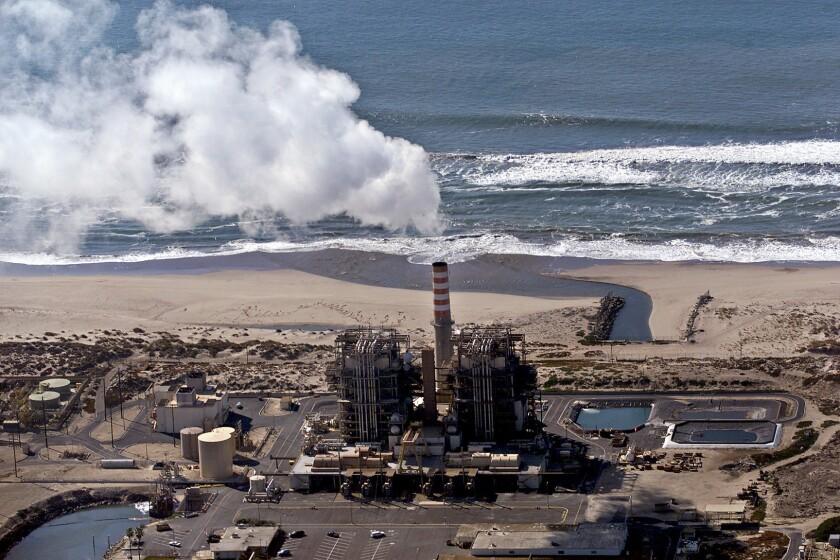 The Mandalay power plant sits on the beach in Oxnard, Calif.