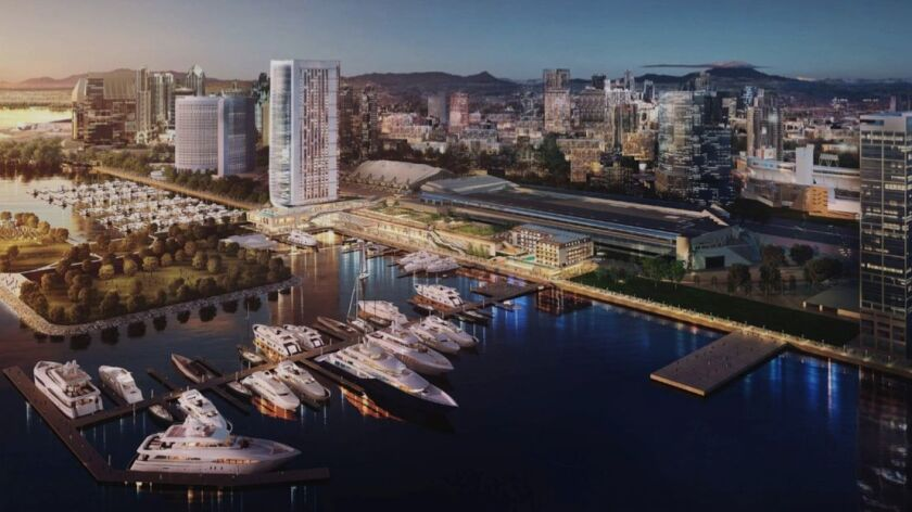 A development team was processing plans for a 44-story hotel on a five-acre site on the bay side of the convention center.