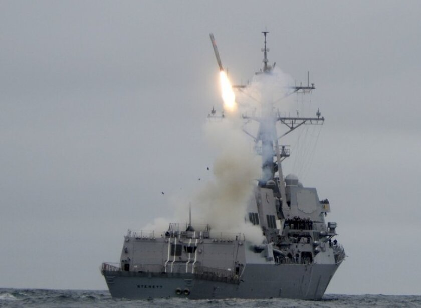 The San Diego-based destroyer Sterett test fires a Tomahawk cruise missile off Southern California in June 2010.