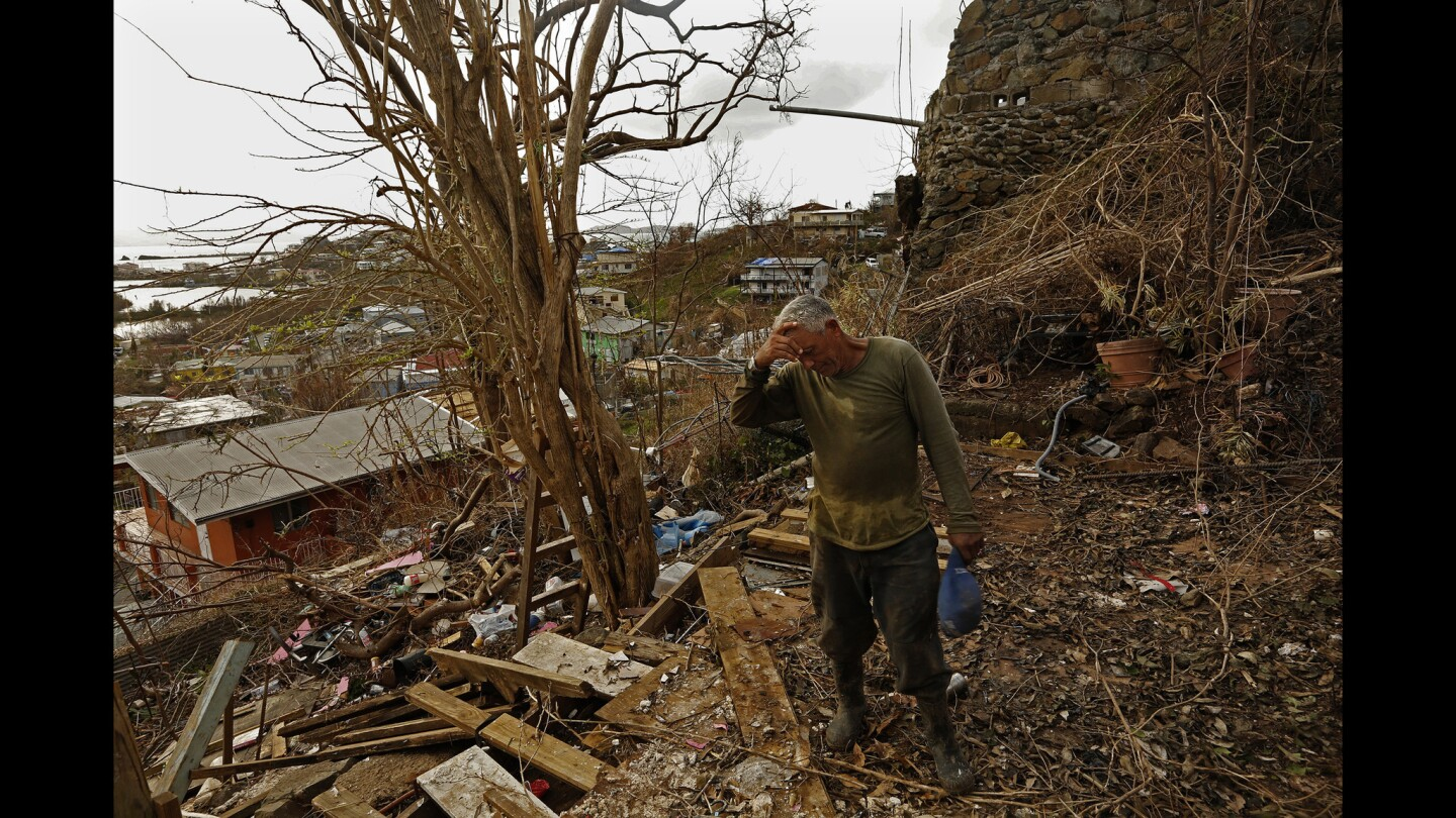 On the hill above Cruz Bay on St. John Island, the house where Eugenio Santana Santana, age 61, was living was completely blown away by Hurricane Irma. He and four other people took shelter crammed in a bathroom. Originally from Dominica, Santana says he will stay and help rebuild the island because there is no work in his own country.