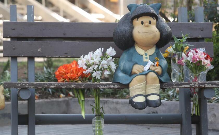 Una representación del personaje de Mafalda en la ciudad de Mendoza, Argentina.