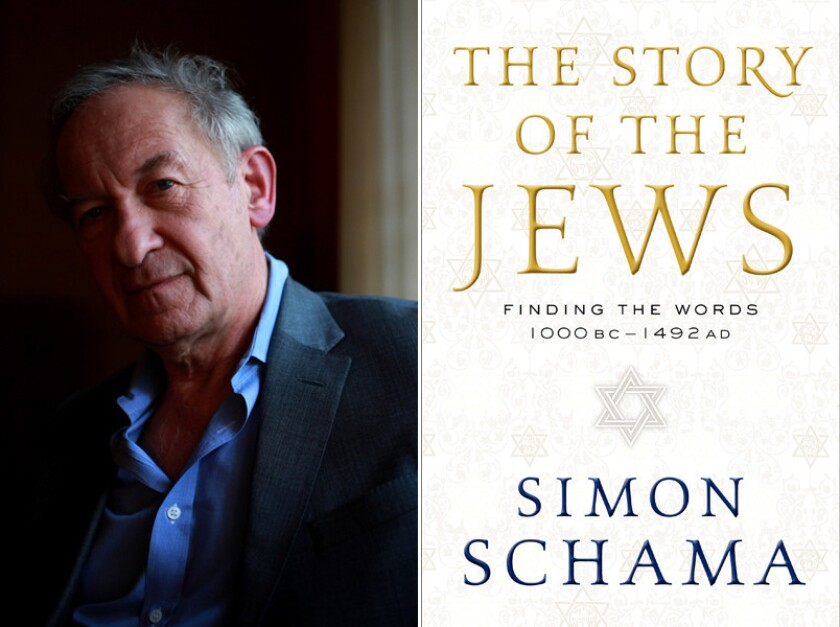 "Historian Simon Schama and the cover of his book, ""The Story of the Jews."""