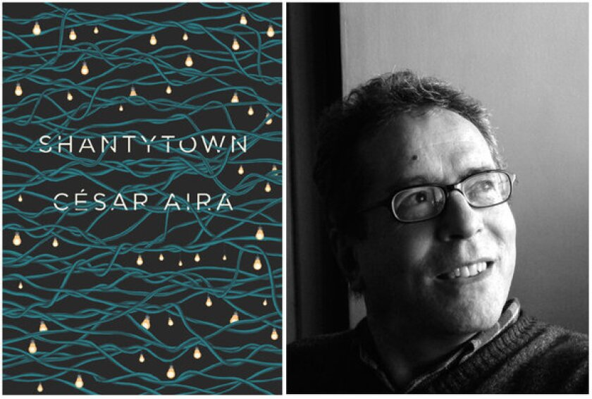 "The cover of ""Shantytown"" and author César Aira."