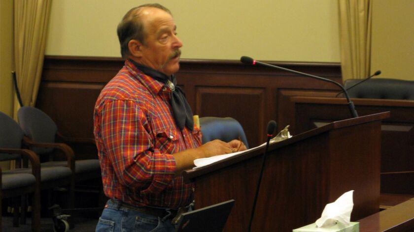 Dan Sevy a member of the Followers of Christ Church testifies August 4, 2016 before an Idaho legisla