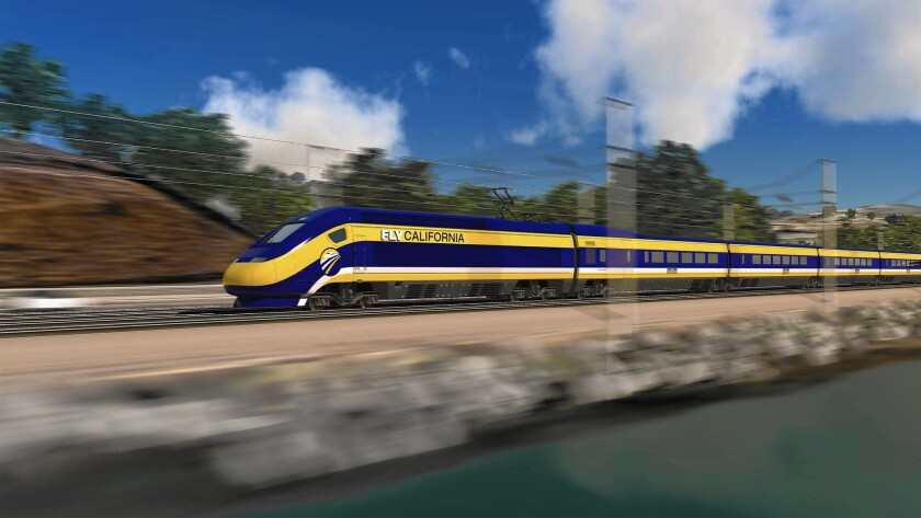 A rendering of the California high-speed train.