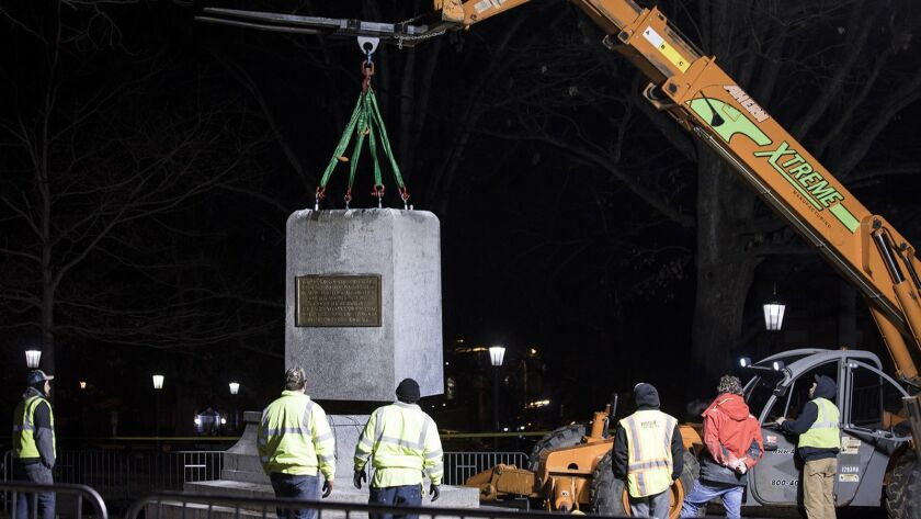 Silent Sam pedestal removed after order from UNC Chancellor Carol Folt, who is stepping down