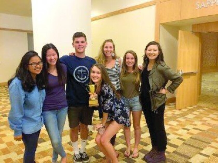 """The TPHS Falconer recently won """"Best of Show"""" at the National High School Journalism Convention,. Pictured from left to right are TPHS staff members: Charu Sinha, Anna Li, Russell Reed, Savannah Kelly, Katie Mulkowsky, Caroline Rutten, Sarah Brown. Courtesy photo"""